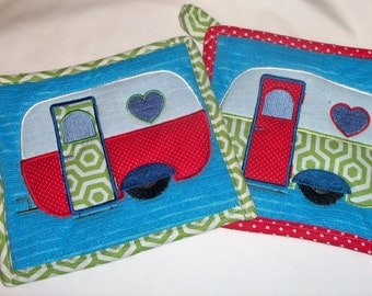 Pot Holders Embroidered Camper Pot Holders Green Blue Red Pot Holders