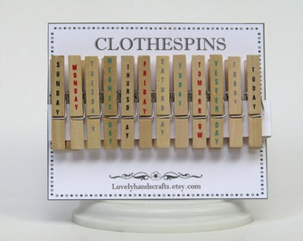 Set of 12 - Hand Stamped Clothespins - Days of the Week