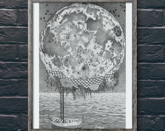 Moon Wall Decor, Moon Art Prints, Moon Print, Italo Calvino Art Prints, Moon Art, Moon Wall Art, Star Wall Decor