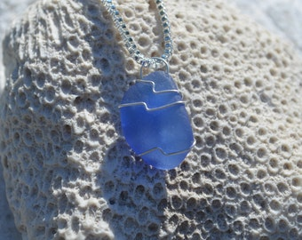 Genuine Cobalt Blue Sea Beach Glass Wire Wrapped Pendant and Necklace