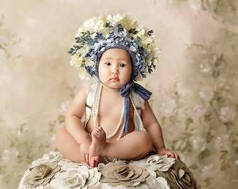 CUSTOM Sitter Denim and lace bonnet/photography prop,garden bonnet,country,shabby,elegant,