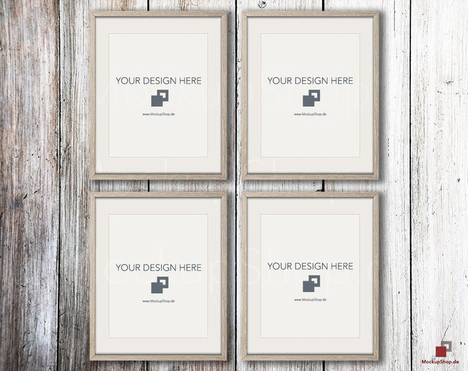 NORDIC MOCKUP FRAME 8x10,  Set of 4, old wood frame mockup shabby chic, Old Vintage Frame Mock-up, Vintage nordic style