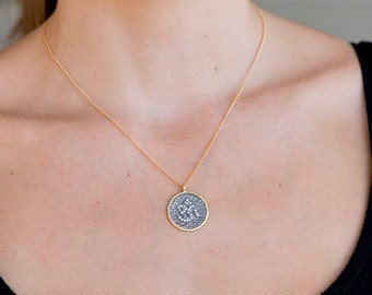Pave OM/Ohm circular Pendant Necklace black toned/Ohm Necklace