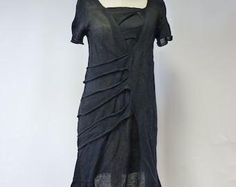 Sale, new price 75 Euro, original price 90 Euro.Handmade black linen dress, M size.  Only one sample.