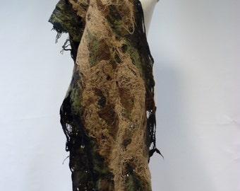 Boho felted long shawl, handmade. Military look.