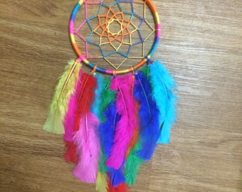 Rainbow Colorful Feather Dreamcatcher