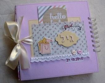Baby Scrapbook Album, Personalised Baby Girl Scrapbook Photo Album, Keepsake Memory Photo Book, First Year Baby Book, Custom Made, In Pink