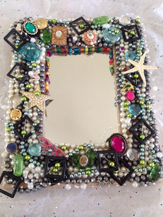 Jewelled Wall Decoration : Jeweled mirror unique wall decor home accent blinged