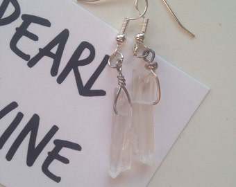 Clear Crystal Quartz Drop Earrings