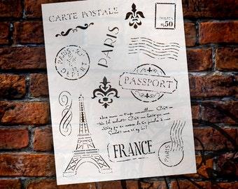 "Passport To Paris  Stencil - 8.5"" x 11"" - STCL366 - by StudioR12"