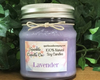 LAVENDER Scented Soy Candle | 8 oz. Mason Jar Candle | Aromatherapy | Hand Poured