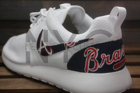 89b0c911002 70%OFF Nike Roshe Run Triple White Atlanta Braves Custom Men by NYCustoms