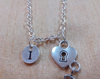 Heart Lock and Key Charm Necklace, Padlock Charm Necklace, Heart Lock Necklace, Key Necklace, Sweetheart Necklace