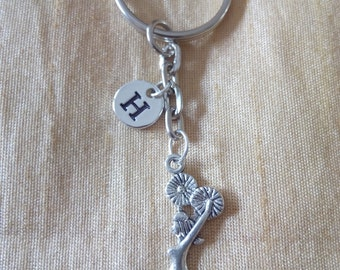 Cheerleader Key chain with Initial, cheerleader Jewelry,  Silver Custom, Friendship Jewelry, Charm Key chain