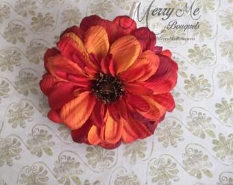 Orange Boutonniere - Orange Daisy Boutonniere - Rustic Orange Boutonniere - Daisy Boutonniere - Fall Boutonniere - Zinnea Boutonniere