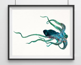 Octopus Watercolor Print, Octopus Art Print, Watercolor Art, Animal Watercolor, Octopus Home Decor Wall Art, Octopus Painting Print- 40