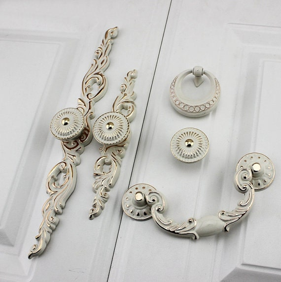 Shabby Chic Drop Bail Dresser Pull Drawer Pulls Handles White Gold French Country Kitchen