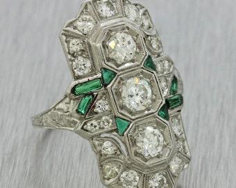 1920s Antique Art Deco Estate Platinum 1.50ctw Diamond Emerald Dinner Ring