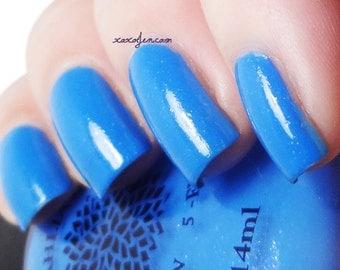 Bright Blue with Purple Shimmer Crelly Nail Polish -- Blue Bonnet Bingo by Black Dahlia Lacquer