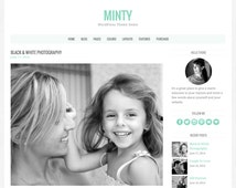 "WordPress Theme ""Minty"", Responsive WordPress Theme, Blog Template, Premade Website Design"