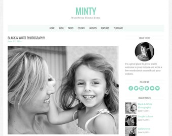 "WordPress Theme ""Minty"", Responsive WordPress Theme, Blog Template, Premade Website Design, for WordPress.org Websites"