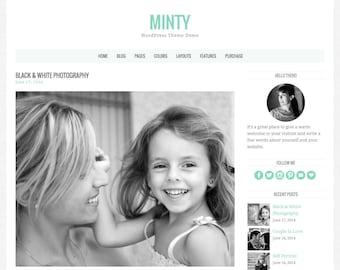 "WordPress Theme ""Minty"", Responsive WordPress Theme, Blog Template, Premade Website Design, for WordPress.org Websites"