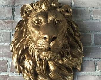 ANY COLOR  or BRONZE Large African Lion Head Wall Mount // Faux Taxidermy // Statue / Leo / Wall Decor / Kingfour / Animal Head / Sculpture