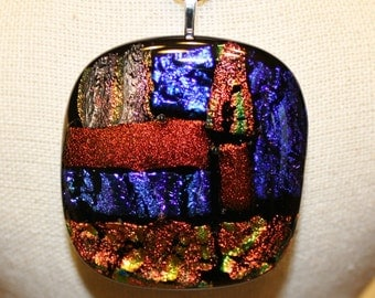 Handmade Fused Dichroic Glass Necklace Pendant - Fused Glass Necklace - Glass Pendant - Dichroic Glass