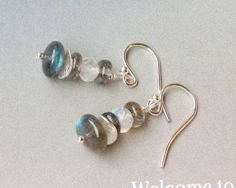 Rainbow Moonstone and labradorite Earrings- stacked Sterling Silver earrings, rainbow moonstone, labradorite, natural gemstones