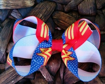 Simple Loopy  Super Woman Hair Bow / Super Woman Bow/ Simple Superwoman Hair Bow/