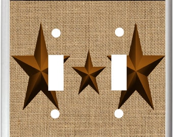 Rustic Barn Star Burlap image # 25  Light Switch Cover Plate or Outlet   Home   Decor  Free Shipping in U.S.!!!