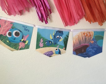 Finding Dory banner upcycled book