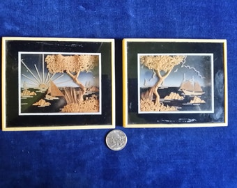 Pair of vintage small cork scenic pictures