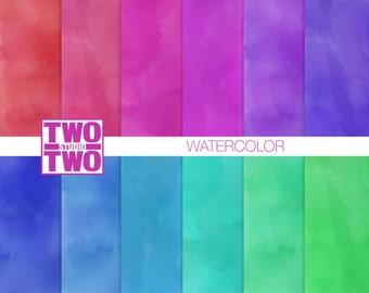 Watercolor Digital Paper / Jewel Tone Watercolor Digital Paper / Watercolor Printable/ Watercolor Scrapbook Paper / Instant Download