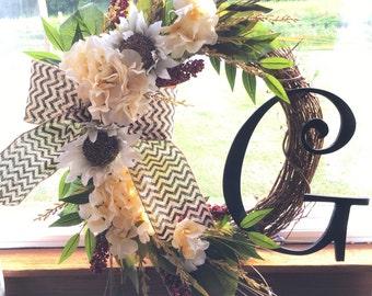 Monogram grape vine All season wreath