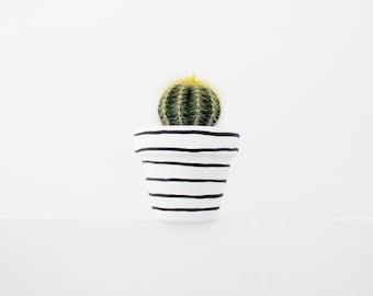 Hand Painted Stripe Plant Pot - 6cm