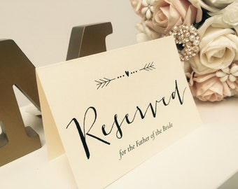 Vintage/Rustic personalised 'Arrow' Wedding Reserved Signs- ivory or brown
