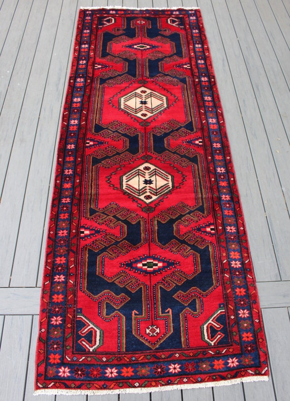 """3'7""""x10'2"""" Semi-antique Persian Hamadan Runner"""