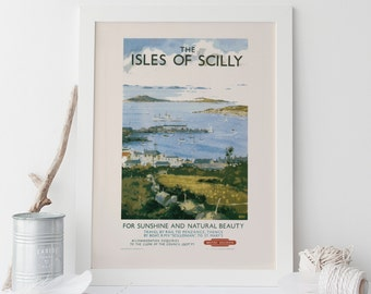 ENGLAND TRAVEL Poster  - Isles of SCILLY Travel Poster Vintage British Railways Travel Poster Vintage Train Poster High Quality Reproduction