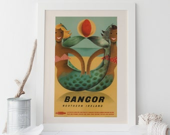 BANGOR TRAVEL POSTER - Ireland Travel Poster, Vintage Travel Poster, Frame-Ready Ikea Ribba Size, Cottage Wall Art