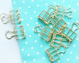 Set of 2 SMALL Gold Binder Clips — Frame Clips - Hollow Out Long Tail Clip