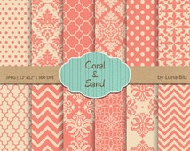 "Coral and Sand Digital Paper: ""Coral and Sand Patterns "" coral scrapbook papers, for invitations, cardmaking, crafts, stationary"