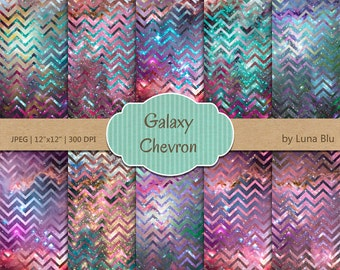 """Chevron Digital Paper Pack: """"Galaxy Chevron"""" scrapbook paper, colorful digital paper, for personal & small commercial use"""