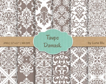 """Taupe Digital Paper: """"Taupe Damask Patterns"""" neutral damasks for cardmaking, invitations, taupe scrapbook paper"""