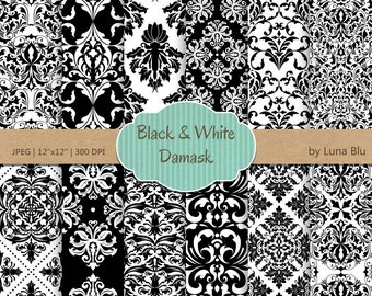 """Black and White Damask Digital Paper: """"Black and White Damasks"""" damask patterns, black and white digital paper, cardmaking, invitations"""