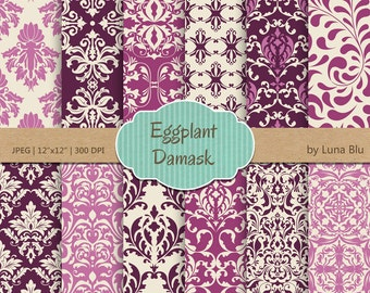 "Damask Digital Paper: ""Eggplant Damask Patterns"" purple digital paper, for cardmaking, invitations, purple scrapbooking paper"