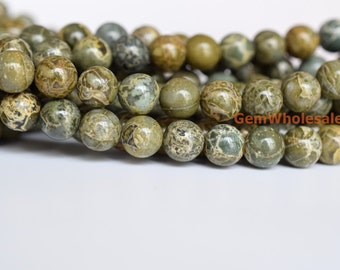 "15.5"" 8mm Natural African army green jasper round beads, Green Brecciated jasper,Alligator Skin jasper round beads,Green Brecciated"