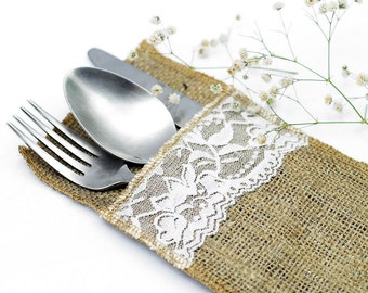 Lace Hessian/Burlap Cutlery Holders