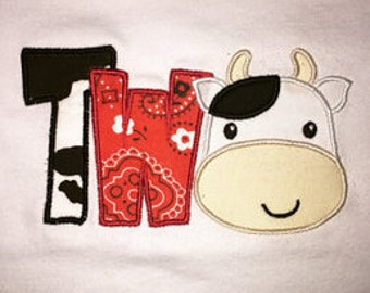 TWO applique,Cow applique,TWO design,TWO,Cow,My 2nd birthday,Two embmroidery,Cow applique,Embroidery machine 04