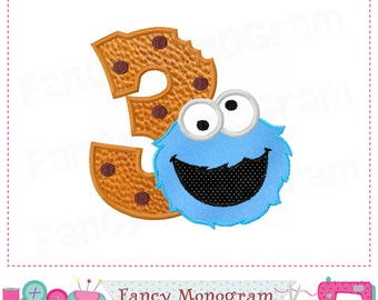 Cookie Monster  Number 3 applique,Birthday Number 3 applique,3,My 3rd birthday,Cookie Monster design,Cookie Monster applique.